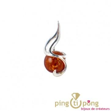 Pendentif Balticambre perle d'ambre ronde soutenue par une spirale en argent.
