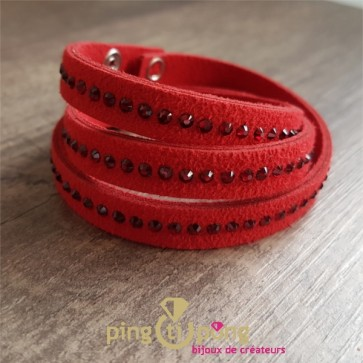 Bracelet Spark alcantara et cristal de Swarovski rouge®