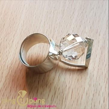 Bague espace blanc diamant