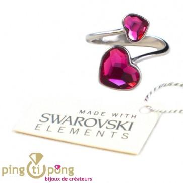 """Bague """"toi et moi"""" coeur en argent et cristaux de Swarovski de SPARK"""