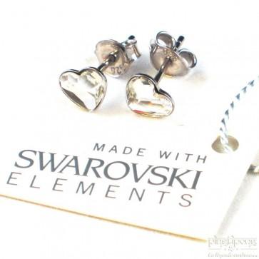 bijoux spark boucle d'oreille puce en argent et swarovski en forme de coeur blanc cristal diamant