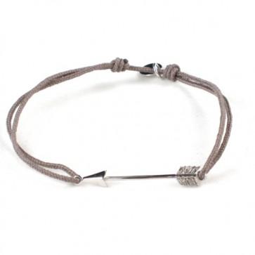 """Bracelet lien taupe et motif """"flèche"""" en argent 925 - L'AVARE bijoux"""