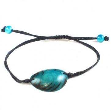 Bijoux équitables - Bracelet brillant en noix de tagua bleu turquoise - Green-Age