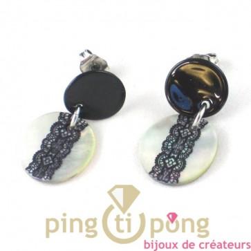 """bijoux en nacre : boucles d'oreilles noir et blanc dentelle de """"la petite sardine"""""""