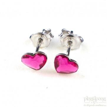 bijoux spark boucle d'oreille puce en argent et swarovski en forme de coeur rose