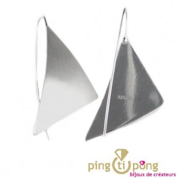 """Boucles en Argent """"voile triangle"""" du créateur Kelim Design"""