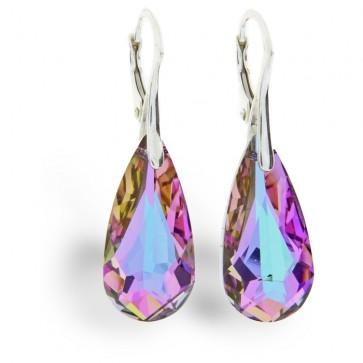 Boucle d'oreille goutte en Swarovski de SPARK couleur violette avec des reflets bleus