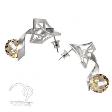 boucles d'oreilles originales CRAZY en argent massif et Swarovski de Ostrowski Design