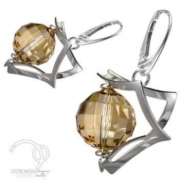 boucles d'oreilles en argent et cristal de swarovski collection espace par ostrowski design