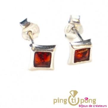 Boucles d'oreilles puces carrées en argent et ambre cognac Balticambre