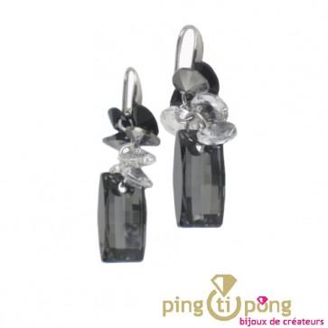 Boucles en argent et cristaux de Swarovski gris
