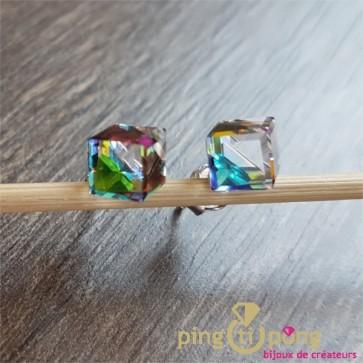 Boucles puce cube vitrail SPARK