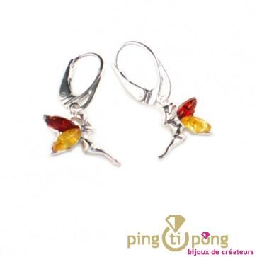 """Boucles d'oreilles """"fée"""" en ambre jaune et ambre orange cognac Balticambre"""