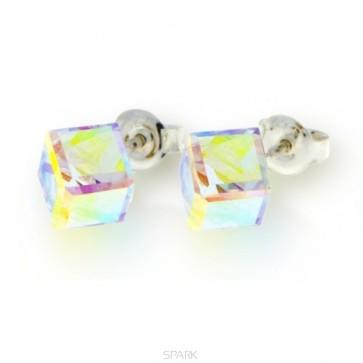boucles d'oreilles SPARK en argent et cristal de Swarovski blanc Aurore Boréale