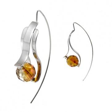 Boucles d'oreilles GLOW de Ostrowski Design en argent massif et cristal de Swarovski