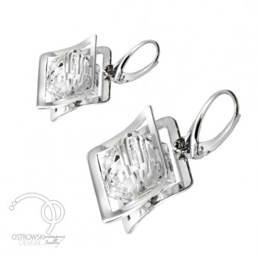 Boucles d'oreilles originales en argent et cristal de Swarovski blanc diamant de Ostrowski Design, collection XPLAY
