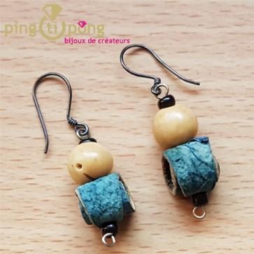 Green-Age - boucles d'oreilles en peau d'orange et tagua bleues
