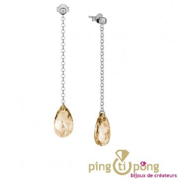 Boucles cristal de Swarovski or et chaînette en argent