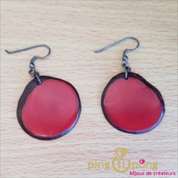 Boucles d'oreilles en tagua plate rouge GREEN AGE