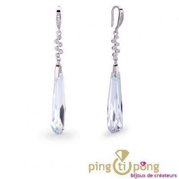 Boucles SPARK en argent et pendentif en cristal de Swarovski diamant