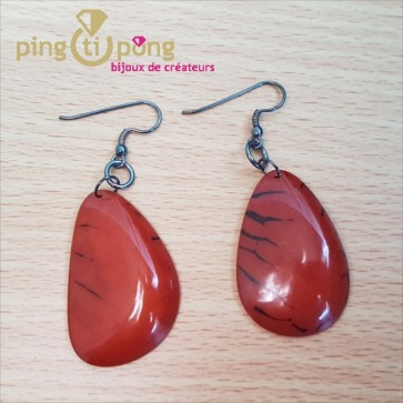 Boucles en tagua orange brillantes
