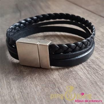 Bracelet noir 3 brins