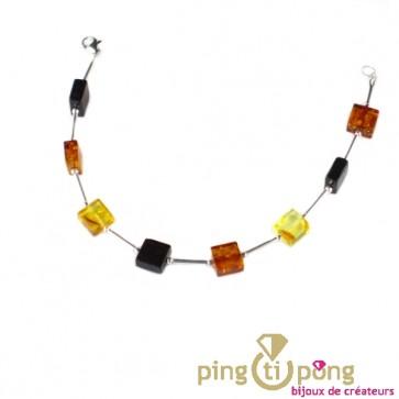 Bracelet en pavés d'ambre et perles en argent de Balticambre