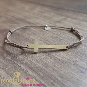 Bracelet lacette et croix argent Olivier Lafond