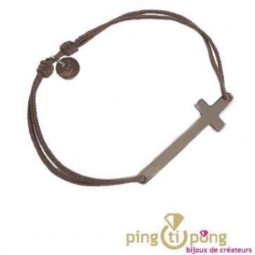 Bracelet croix taupe de L'avare