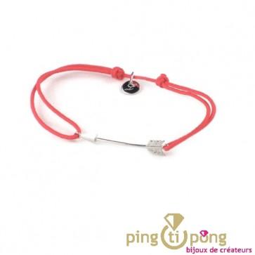Petite flèche rouge - Bracelet argent femme - L'AVARE bijoux