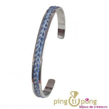 Bracelet jonc Olivier Lafond en argent et lin