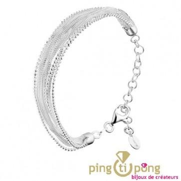 Bracelet en argent rhodié multibrins CANYON