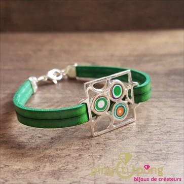 """Bracelet cuir délavé Pastacuita """"spirales"""" vert"""