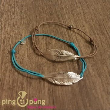 Bijoux plume bleu - Bracelet argent femme - L'AVARE bijoux