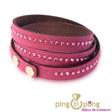 Bracelet Spark alcantara et cristal de swarovski fuchsia rose
