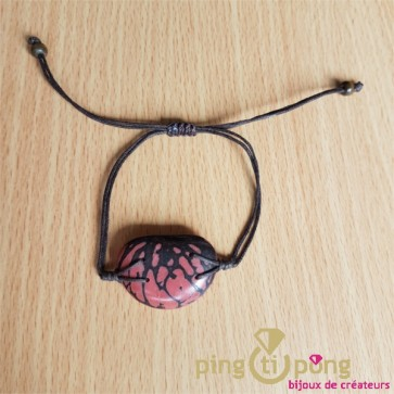 Bracelet en noix de tagua zébrée rose GREEN AGE