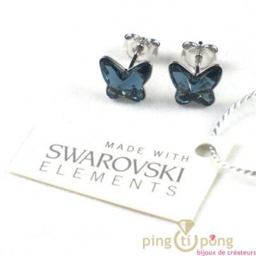 bijoux Swarovski bleu topaze forme papillon by Spark
