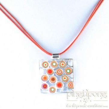 Collier Pastacuita cercles psychédélique orange