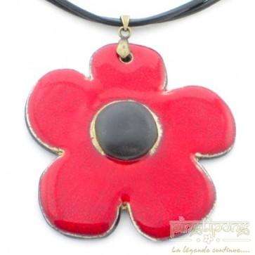 Collier fleur de créateur, céramique émaillée rouge et noir