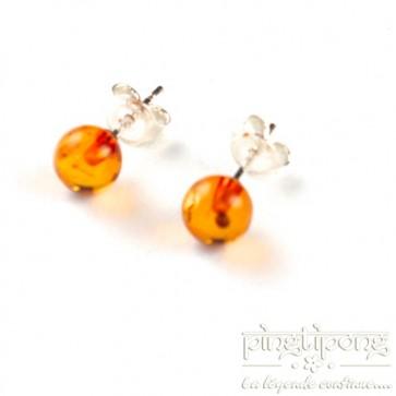 Boucle d'oreille Perle ronde de 6mm en ambre Balticambre