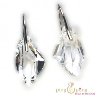 Bijoux Swarovski Elements boucles d'oreilles SPARK goutte brute blanc cristal et argent massif