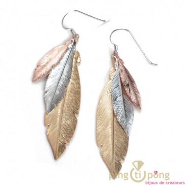 Boucle d'oreilles 3 plumes de l'AVARE en argent et vermeil or et or rose