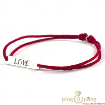 bracelet LOVE de L'AVARE bijoux en argent et cordon rouge