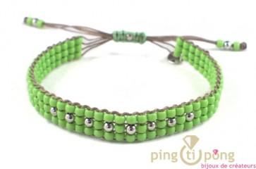 bijoux L'AVARE - bracelet en perles de toho vert anis et argent de l'AVARE