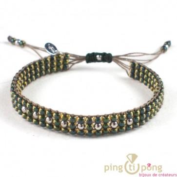 bracelet Toho et argent de L'AVARE bijoux vert jaune