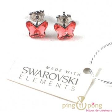 bijoux swarovski papillon en argent rose orangé by Spark