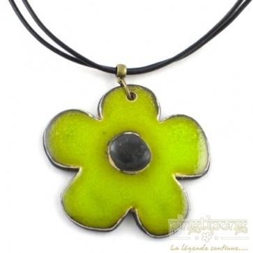 Collier fleur en céramique véritable vert pomme et noir Christine Alloing