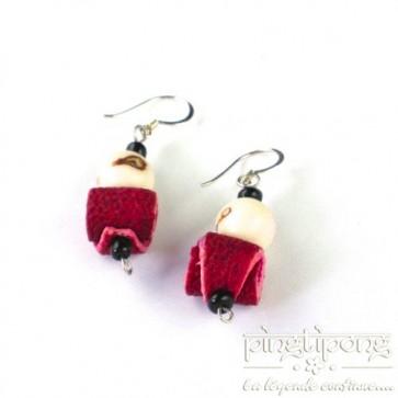 Green-Age - Boucles d'oreilles en peau d'orange et tagua rouges -Pingtipong bijoux fantaisie