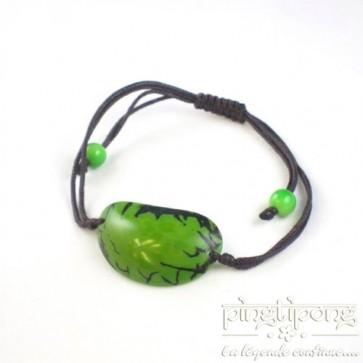 Bijoux équitable, bracelet brillant en noix de tagua vert - GreenAge