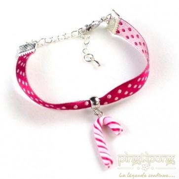 Bracelet bijoux gourmands sucre d'orge rose